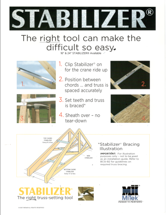 Stabilizers, sold by Lampasas Building Components manufacturer of roof and floor trusses. Based in Lampasas, Texas